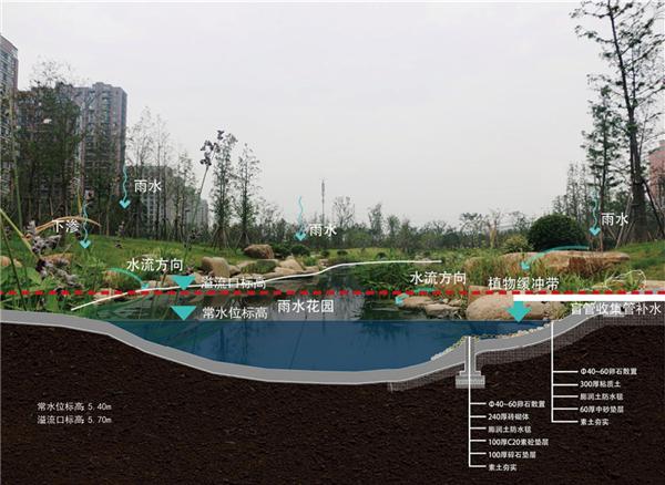 以雨水收集为例,采用景观水系长效雨水收集系统+景观旱溪短时雨水缓排系统两种方法进行,其中,景观水系长效雨水收集系统主要是利用公园的自身条件优势,打造雨水花园,将地表径流汇流至公园景观水系,将雨水储存在水系中,当水位高于溢流口时,可将水排放至市政管网。必要时可在水系中设置抽水泵,将水用于浇灌养护园林植物;景观旱溪短时雨水缓排系统则是将旱溪布置于带状绿地低洼处,设计时仿造自然界中干涸的河床,配合湿生植物的营造在意境上表达出溪水的景观,降雨时可减缓地表径流,起到缓排作用,旱溪底部接