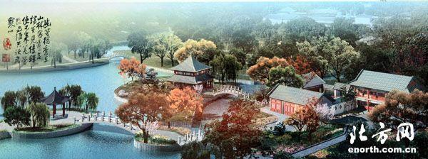 """人民公园鸟瞰图 二宫公园内的""""两岛""""红叶岛和桃花岛设计方案已经确定,目前,施工单位正在修建岛边缘的亲水平台,园内水系管道也在更换整修。""""两岛""""建成后,公园将重建游船码头,届时,周围市民泛舟二宫湖上的昔日记忆将重新变成现实。另外,具有俄罗斯建筑风格的二宫剧场也将焕然一新,整修后二宫剧场将吸引更多地演出团体来此献艺,提高剧场的使用效率。"""