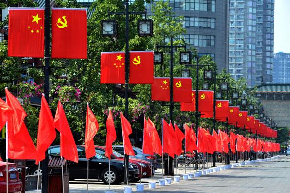 清除了卫生死角,摆放了100余万盆鲜花,悬挂了党旗和国旗,用辛勤的劳