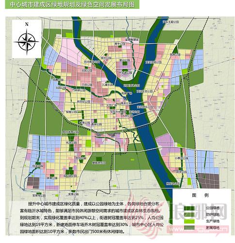 中心城市建成区绿地规划及绿色空间发展布局图