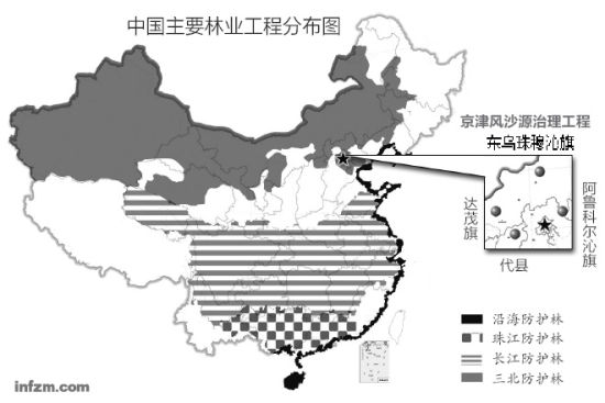 中國主要林業工程分布圖(明鏡/圖)中國主要林業工程分布圖(明鏡/圖)