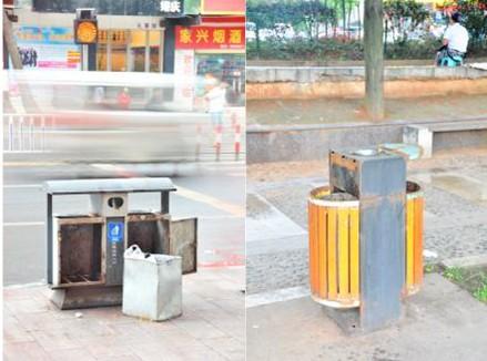 """郴州:垃圾桶被""""变形"""" 吁市民爱护公共设施"""