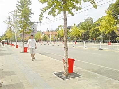 武汉武昌区园林局救树水桶被市民当成垃圾桶