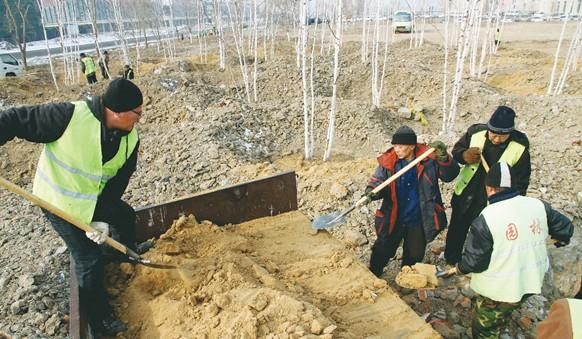 园林工人植树