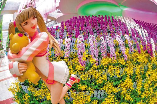 游客首次观赏到舞动在兰花上的各种美丽图案