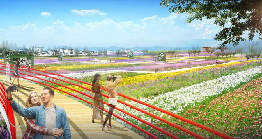 将一幅融地域乡村景观,休闲农业观光,写意太湖风光,现代园艺方向为