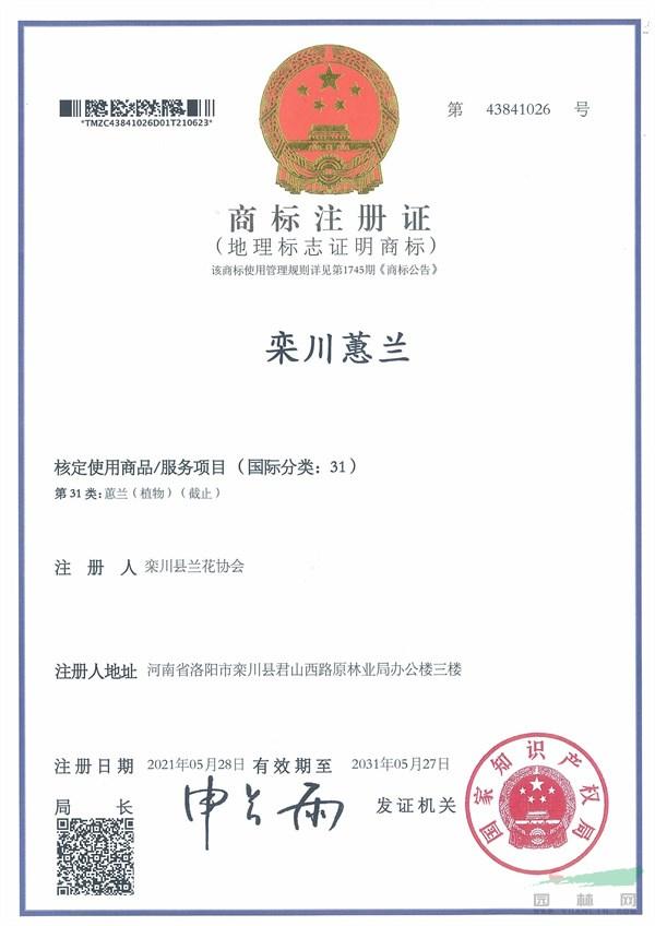 """""""栾川蕙兰""""地理标志注册证书.jpg"""