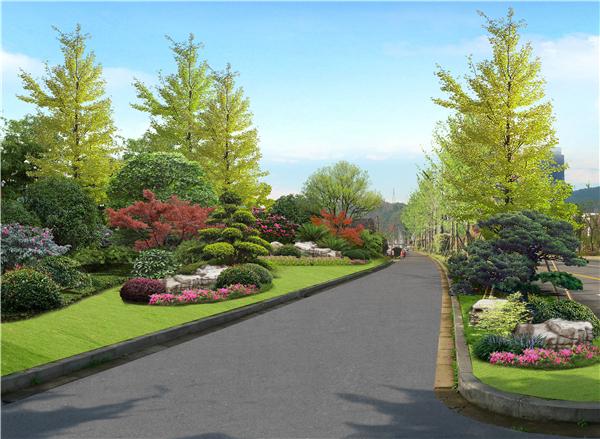 设计作品 城市公共绿地景观设计 >> 正文  中央隔离带增加精致岛式